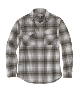 Carhartt Men's Rugged Flex Relaxed Fit Flannel Long-Sleeve Snap-Front Plaid Shirt 104449