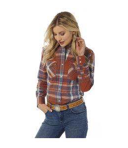 Wrangler Women's Essential Long Sleeve Plaid Western Snap Top LWE725M