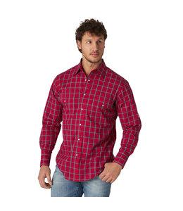 Wrangler Men's Wrinkle Resist Long Sleeve Western Snap Plaid Shirt MWR396