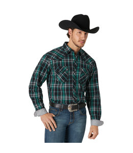 Wrangler Men's 20X Competition Advanced Comfort Long Sleeve Two Pocket Western Snap Plaid Shirt MJC302G