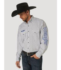 Wrangler Men's Logo Long Sleeve Button-Down Print Shirt MP1340M