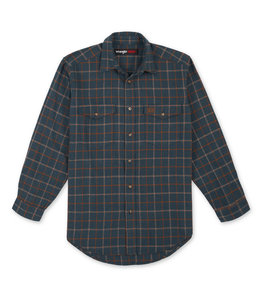Wrangler Men's RIGGS Workwear Heavyweight Flannel Button Down Plaid Shirt 3W532BO