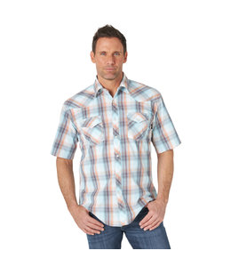 Wrangler Men's 20X Competition Advanced Comfort Short Sleeve Western Snap Two Pocket Plaid Shirt MJC318R