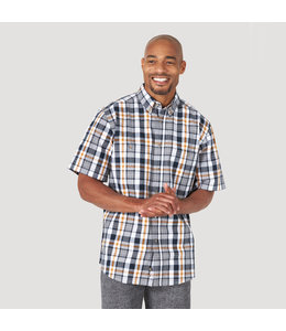 Wrangler Men's Rugged Wear Short Sleeve Easy Care Plaid Button-Down Shirt RWBS1NG