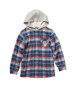 Carhartt Boy's Flannel Long Sleeve Button-Front Hooded Shirt CE8185