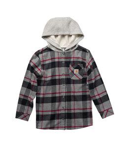 Carhartt Boy's Flannel Long Sleeve Button-Front Hooded Shirt CE8186