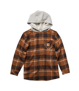 Carhartt Boy's Flannel Long Sleeve Button-Front Hooded Shirt CE8187
