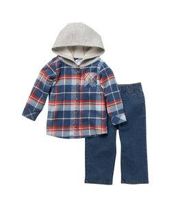 Carhartt Boy's Infant Flannel Long Sleeve Hooded Shirt And Denim Work Pant Set CG8779