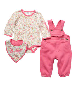 Carhartt Girl's Infant 3-Piece Graphic Bodysuit, Bib and Overall Set CG9766
