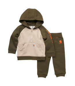 Carhartt Boy's Infant Fleece Long Sleeve Half-Zip Sweatshirt and Sweatpant Set CG8781