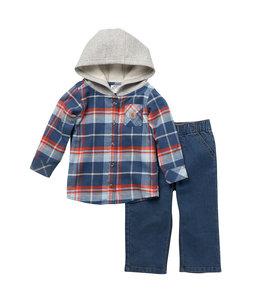 Carhartt Boy's Toddler Flannel Long Sleeve Hooded Shirt and Denim Work Pant Set CG8780