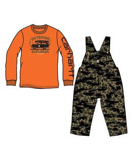 Carhartt Boy's Toddler Long Sleeve T-Shirt and Canvas Camo Overall Set CG8773