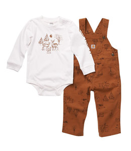 Carhartt Boy's Infant Long Sleeve Graphic Bodysuit and Canvas Overall Set CG8770