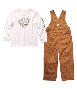 Carhartt Boy's Toddler Long Sleeve Graphic T-Shirt and Canvas Overall Set CG8771