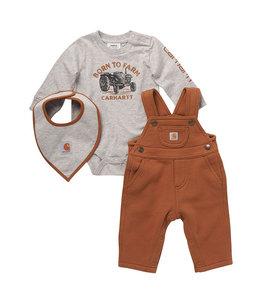 Carhartt Boy's Infant Long Sleeve Born To Farm Bodysuit, Fleece Overall and Bib Set CG8774