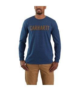 Carhartt Men's Relaxed Fit Heavyweight Long-Sleeve Block Logo Graphic T-Shirt 104891