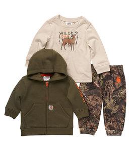 Carhartt Boy's Toddler Little Wild T-Shirt, Full-Zip Sweatshirt & Sweatpant Set CG8778