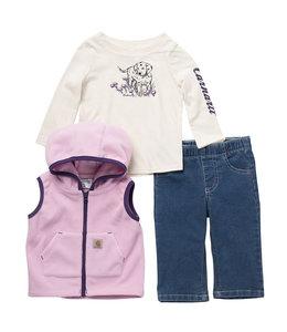 Carhartt Girl's Toddler 3-Piece Graphic Tee, Vest and Denim Pant Set CG9772