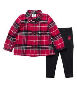 Carhartt Girl's Infant Flannel Long Sleeve Button Down Shirt and Legging Set CG9775