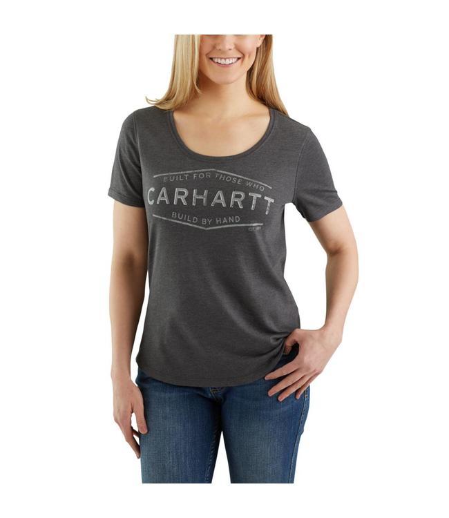 "Carhartt T-Shirt Short-Sleeve Scoop-Neck Lockhart Graphic ""Built by Hand"" 103077"