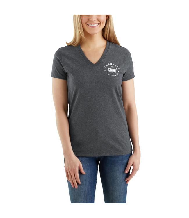 Carhartt T-Shirt Short-Sleeve V-Neck Lubbock Graphic USA Logo 103058