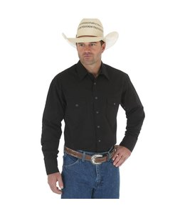 Wrangler Shirt Snap Long Sleeve Solid Broadcloth Western 71105BK