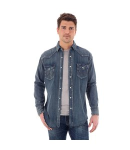 Wrangler Shirt Indigo Slub Denim Snap Western Long Sleeve Cowboy Cut MS1039W