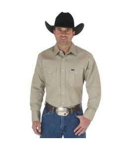 Wrangler Work Shirt Solid Snap Western Long Sleeve Firm Finish Cowboy Cut MS70319