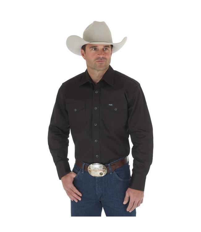 Wrangler Work Shirt Solid Snap Western Long Sleeve Firm Finish Cowboy Cut MS70819