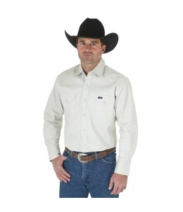 Wrangler Work Shirt Solid Snap Western Long Sleeve Firm Finish Cowboy Cut MS71319