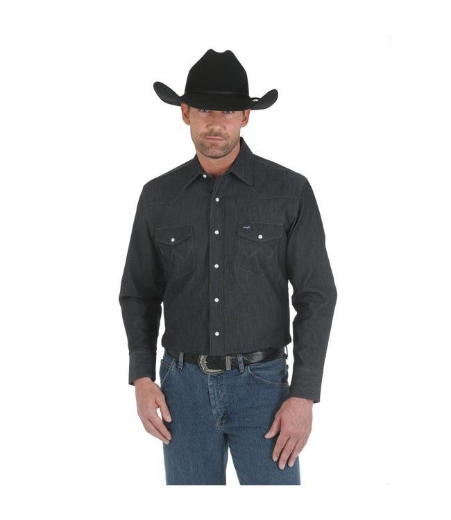 f96f6abe Wrangler Shirt Solid Spread Collar Long Sleeve Cowboy Cut Premium  Performance Advanced Comfort MACW01D