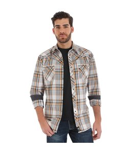 cfbaac2efc Wrangler Shirt Plaid Snaps Western Long Sleeve Rock 47 MRC310M
