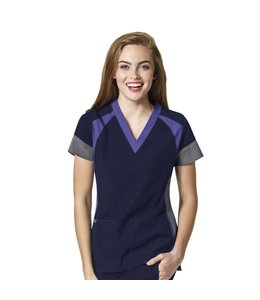 WonderWink Scrub Top V-Neck Color Block 6814A