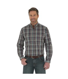 Wrangler Shirt Plaid Wrinkle Resist Rugged Wear RWL07DB
