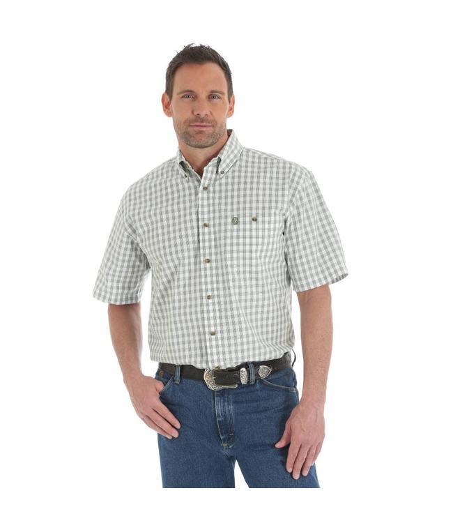 Wrangler Shirt Plaid One Pocket Button Down Short Sleeve George Strait MGSG487