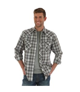 Wrangler Shirt Plaid Heavy Stitching Western Snap Long Sleeve Retro MVR361M