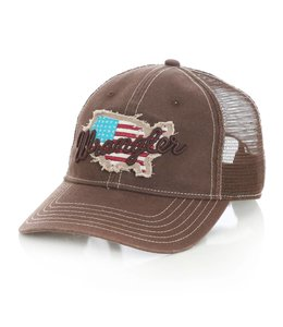 Wrangler Hat Trucker Distressed USA Patch And Script Logo MWC228M