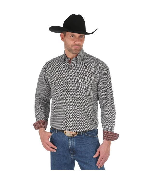 c2191cb1 Wrangler Shirt Print Snap Western Long Sleeve George Strait Troubadour  MGSE510
