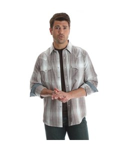 Wrangler Shirt Western Snap Plaid Long Sleeve With Contrast Trim Retro MVR384M