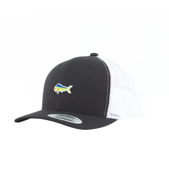 Salty Crew Happy Fish Black/White Retro Trucker Hat