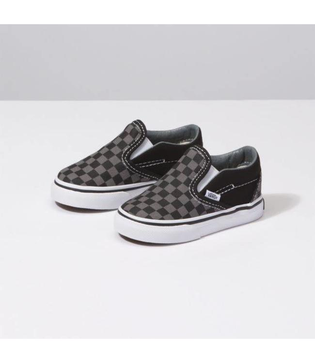b87f18717e Vans Toddler Black Pewter Checkerboard Classic Slip On Shoes - Drift ...
