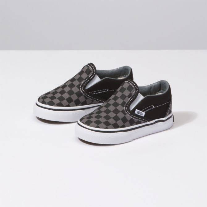 95ca3d9fa6e9 Vans Toddler Black Pewter Checkerboard Classic Slip On Shoes - Drift House  Surf Shop