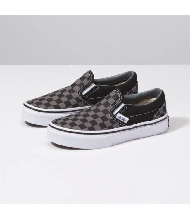 5e4337b23aeadd Vans Kids Black Gray Checkerboard Classic Slip On Shoes - Drift ...