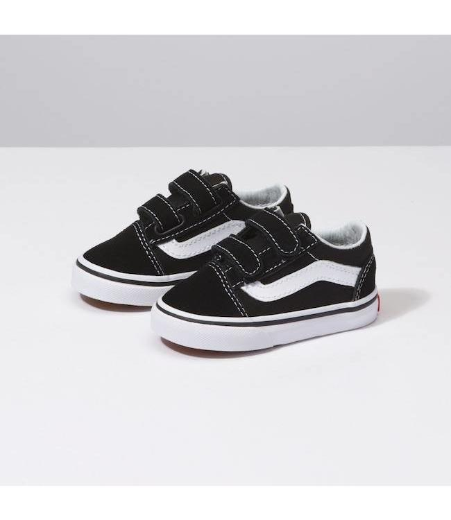 Vans Toddler Old Skool Black/White Velcro Shoes
