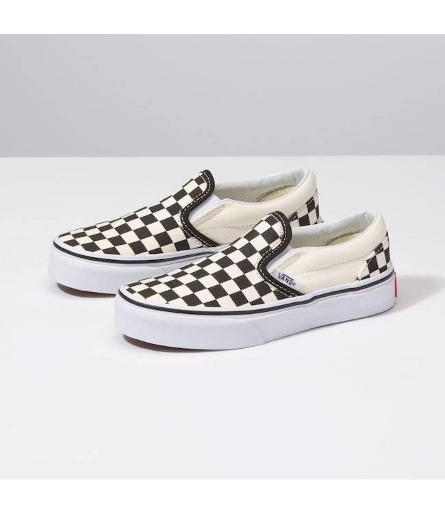 Vans Kids Black/White Checkerboard Slip On Shoes
