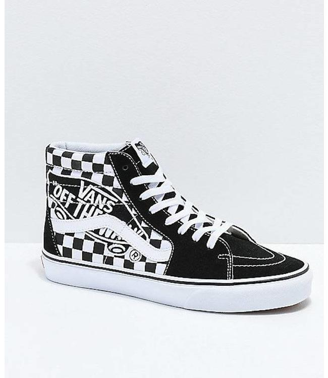 faf57ebb07e13e Vans Sk8 Hi Checkerboard Vans Patch Black and White Skate Shoes ...
