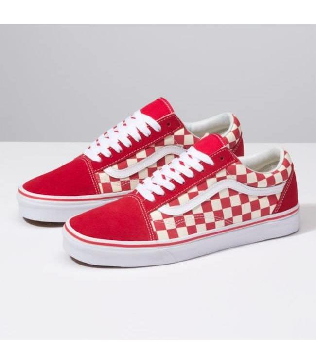 2d65861a62d5 Vans Primary Check Racing Red White Old Skool Shoes - Drift House ...