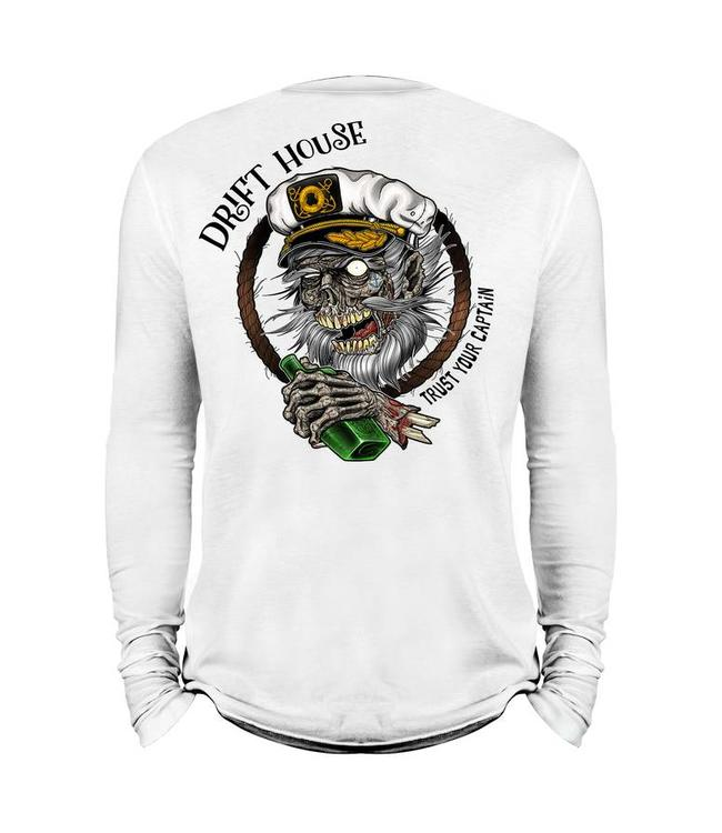 Drift House Trust Your Captain White Long Sleeve Tech