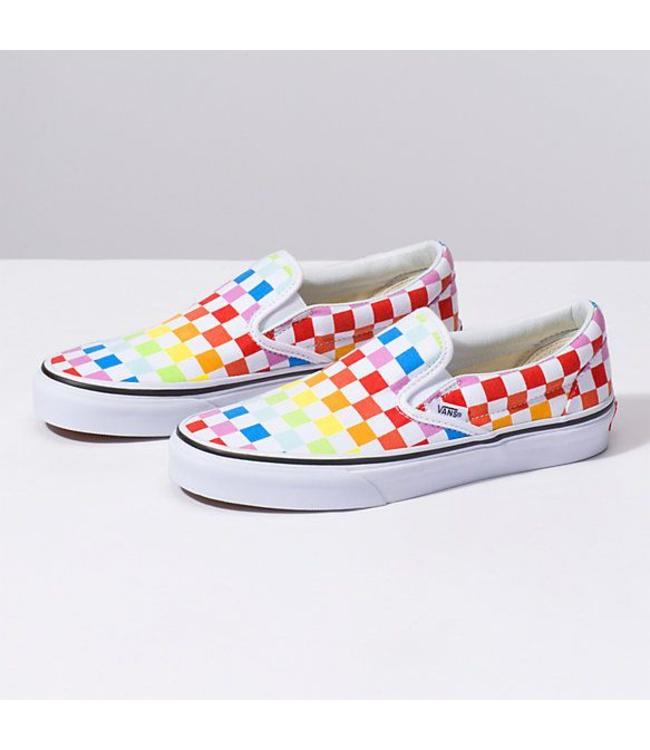 Vans Classic Slip On Rainbow Checkerboard Shoes