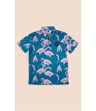 Duvin Design Co. Flock of Flamingos Polo Shirt